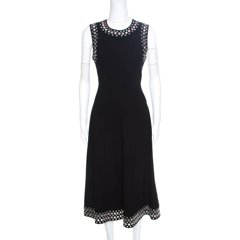 Купить со скидкой Alexander Wang Black Knit Eyelet Embellished Sleeveless Midi Dress M