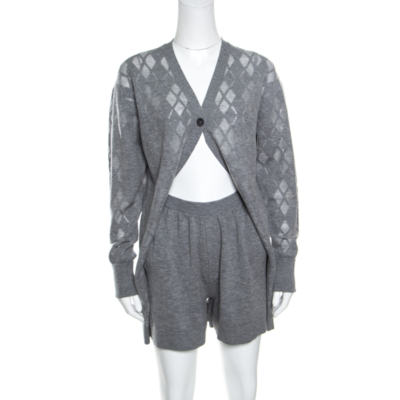 differently hottest sale buy real Alexander Wang Grey Argyle Pattern Cut Out Knit Cardigan Boxer Romper S