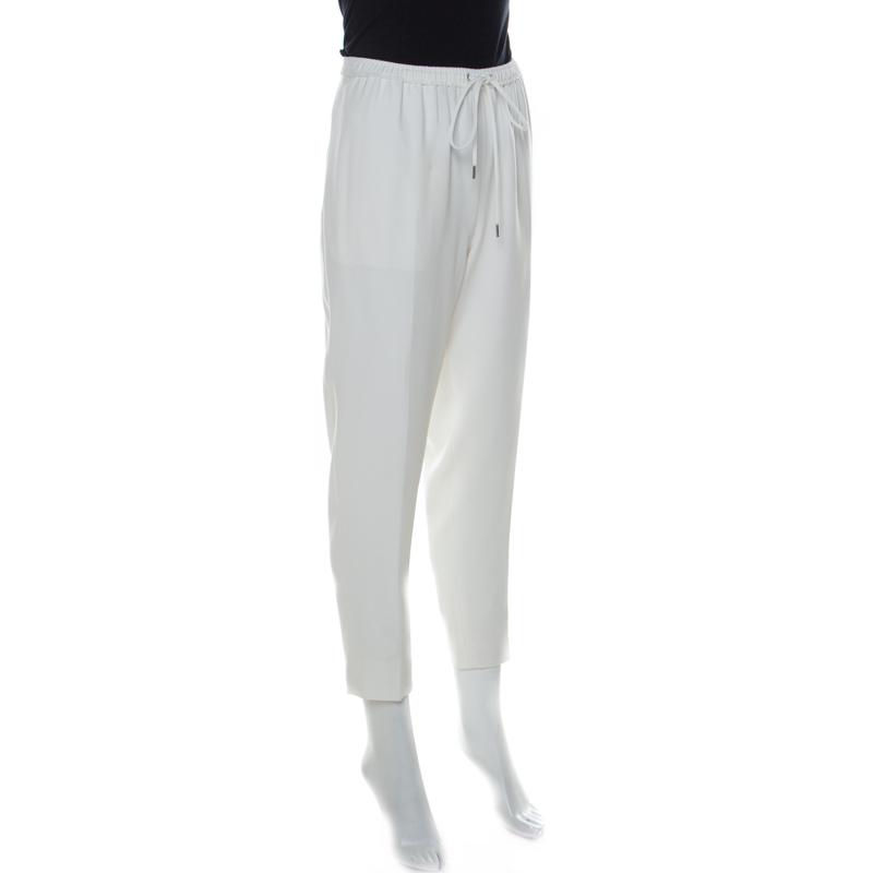 Alexander Wang Blanc Crêpe Cordon De Serrage Détail Fuselée Pantalon M