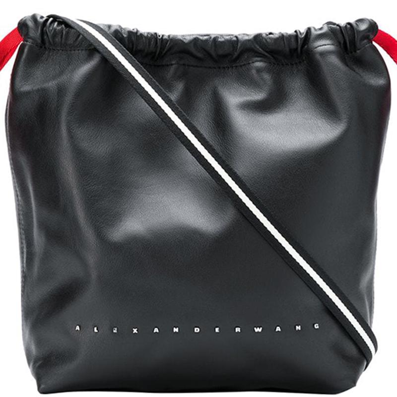 Alexander Black Leather Drawstring Shoulder Bag