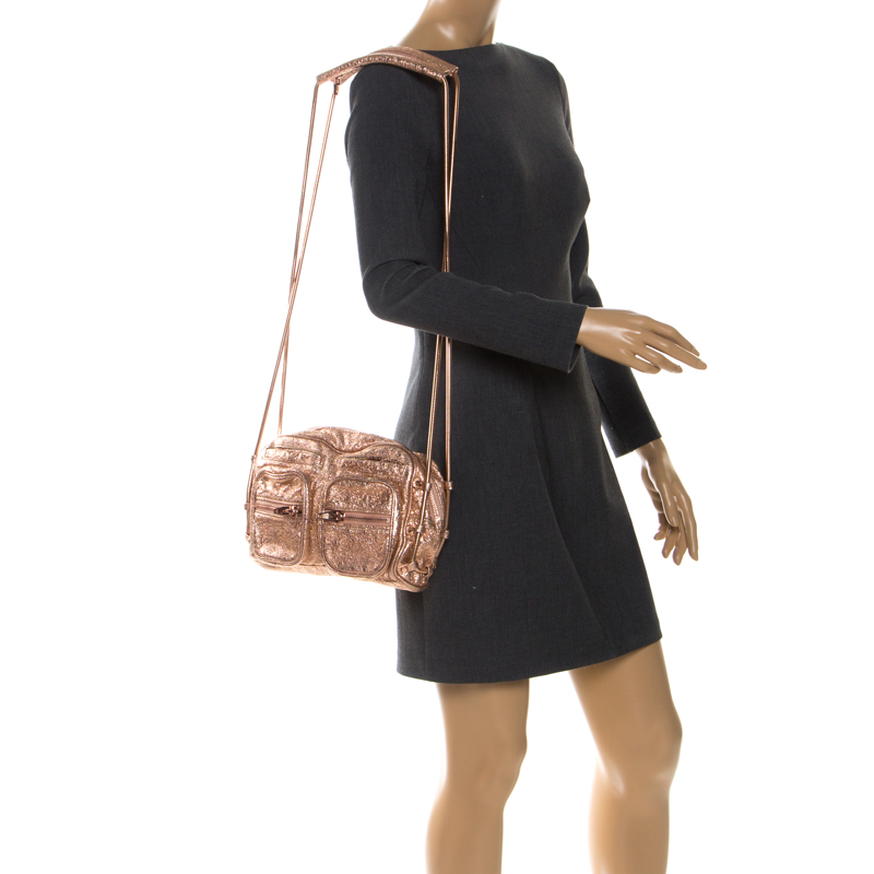 Alexander Wang Metallic Rose Gold Textured Leather Brenda Chain Shoulder Bag