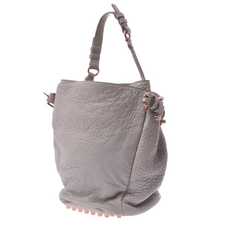Alexander Wang Gray Leather Diego Studded Bucket Bag, Grey