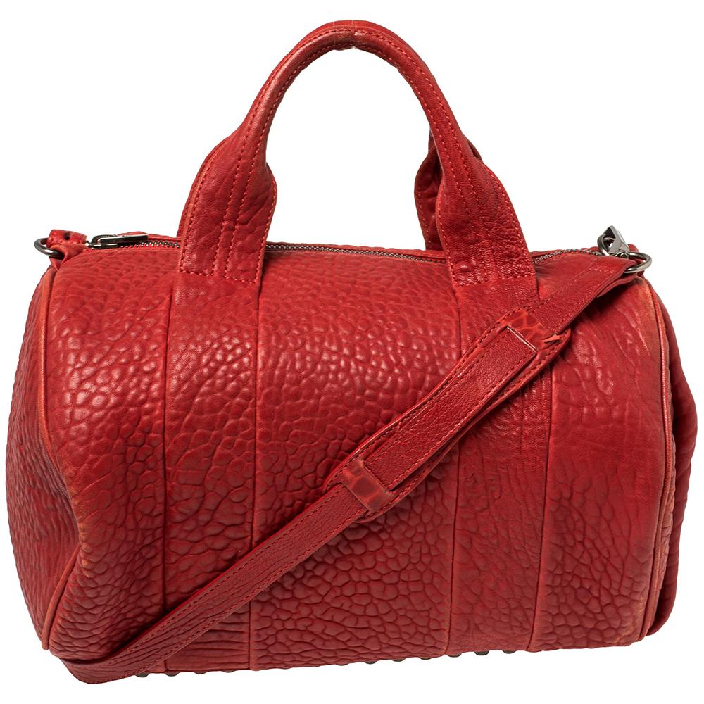 Pre-owned Alexander Wang Red Pebbled Leather Mini Rockie Satchel In Orange