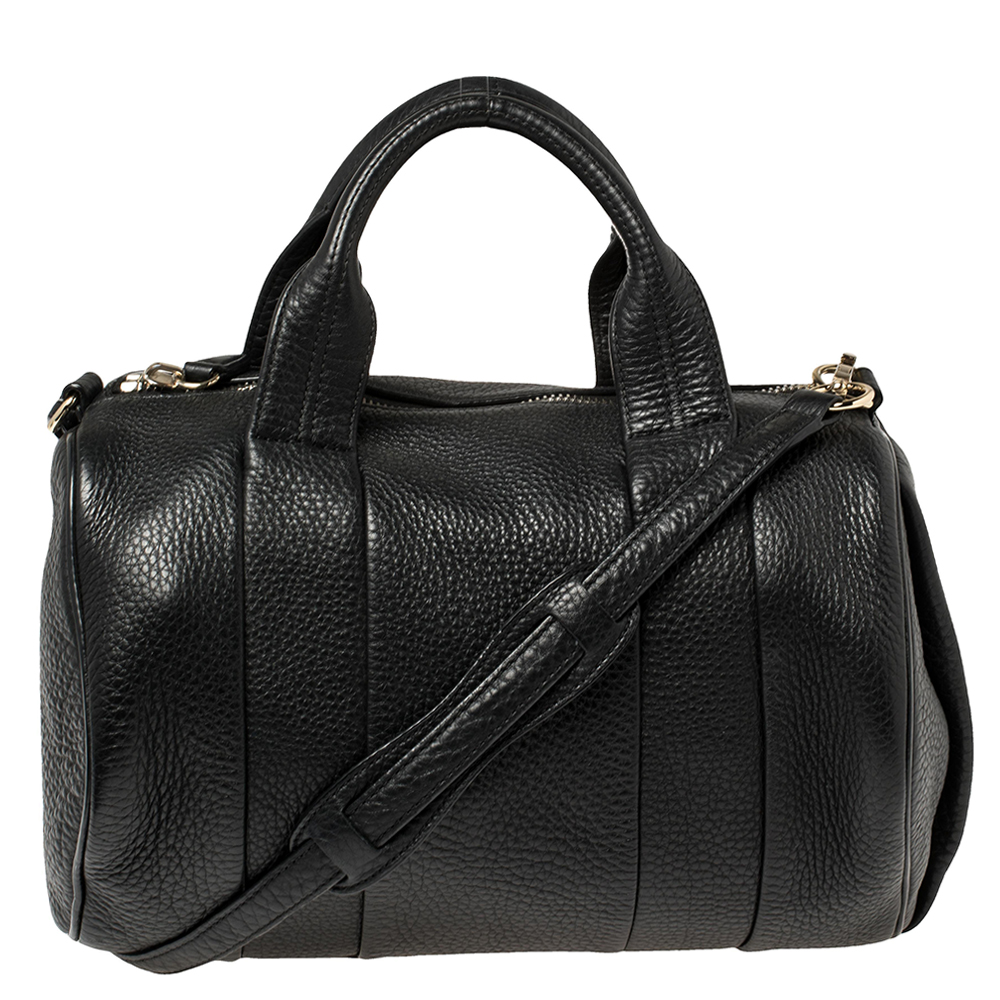 Pre-owned Alexander Wang Black Textured Leather Rocco Duffel Bag