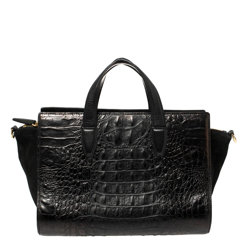 Pre-owned Alexander Wang Black Croc Embossed Leather Pelican Tote