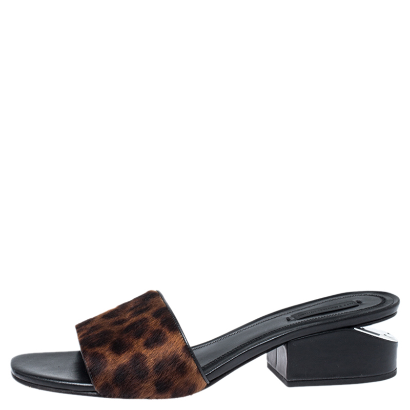 Alexander Wang Brown/Black Leopard Print Pony Hair Lou Diapositives Taille 39.5