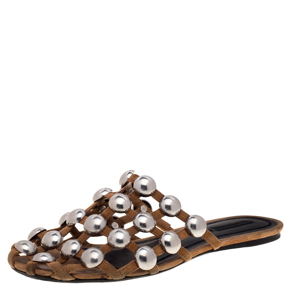 Pre-owned Alexander Wang Beige Suede Embellished Flat Sandals Size 40