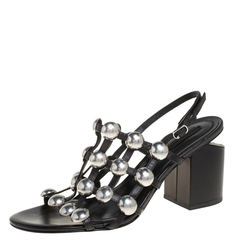 Pre-owned Alexander Wang Black Leather Dome Studded Nadia Sandals Size 41