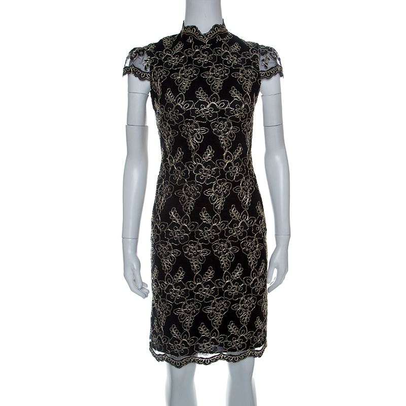Alice Olivia Black Fl Embroidered Tulle High Neck Marya Dress M