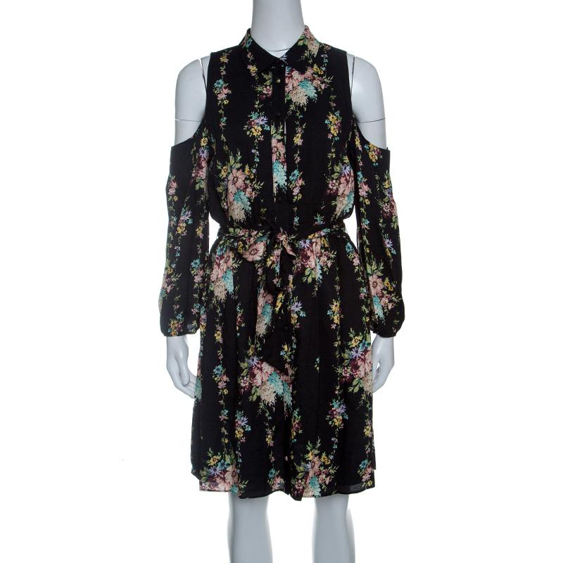Купить со скидкой Alice + Olivia Black Floral Print Cold Shoulder Belted Karina Shirt Dress M