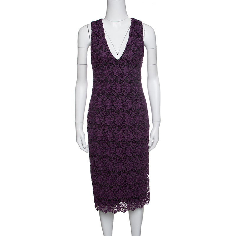Alice + Olivia Purple Floral Guipure Lace Sleeveless Preslee Dress S