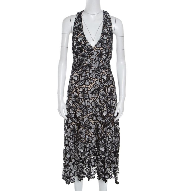 307d965c322 Buy Alice + Olivia Monochrome Floral Lace Cut Out Detail Noreen ...