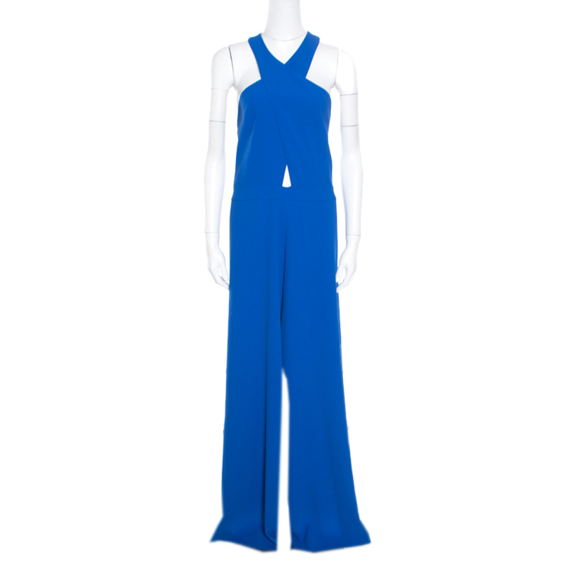 1ef74e056e85 Buy Alice + Olivia Cobalt Blue Cross Front Wide Leg Trinity Jumpsuit ...