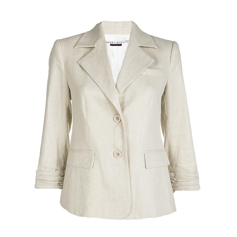 Купить со скидкой Alice + Olivia Metallic Beige Linen Blazer XS