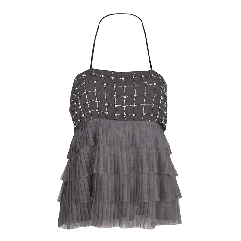 Alice + Olivia Grey Embellished Tiered Tutu Halter Top S