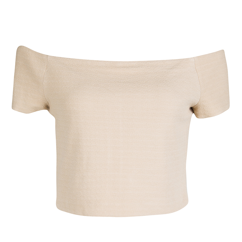 Alice + Olivia Beige Stretch Knit Gracelyn Off Shoulder Crop Top L