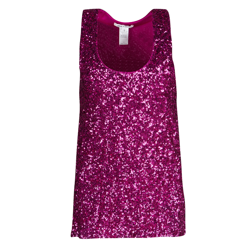 Alice + Olivia Pink Sequined Tank Top S