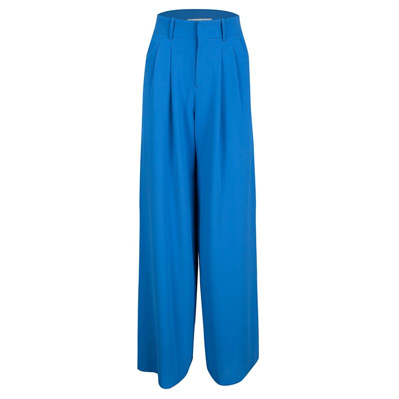 Alice + Olivia Blue Pleated High Waist Palazzo Pants XS