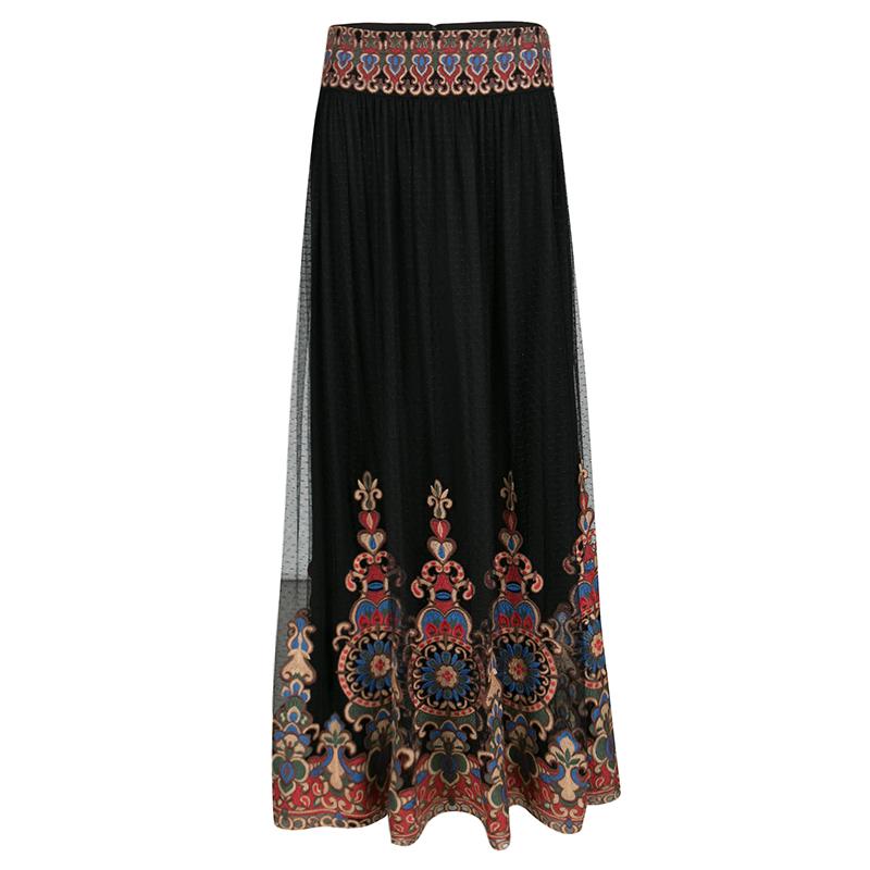 Alice + Olivia Black Embroidered Tulle Savanna Maxi Skirt S