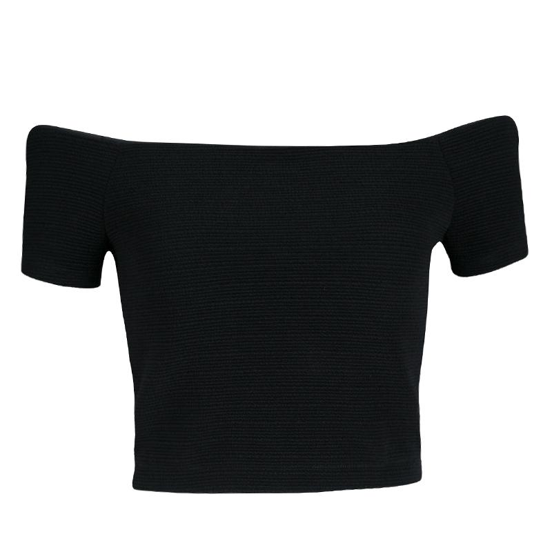 Alice + Olivia Black Stretch Knit Gracelyn Off Shoulder Crop Top S