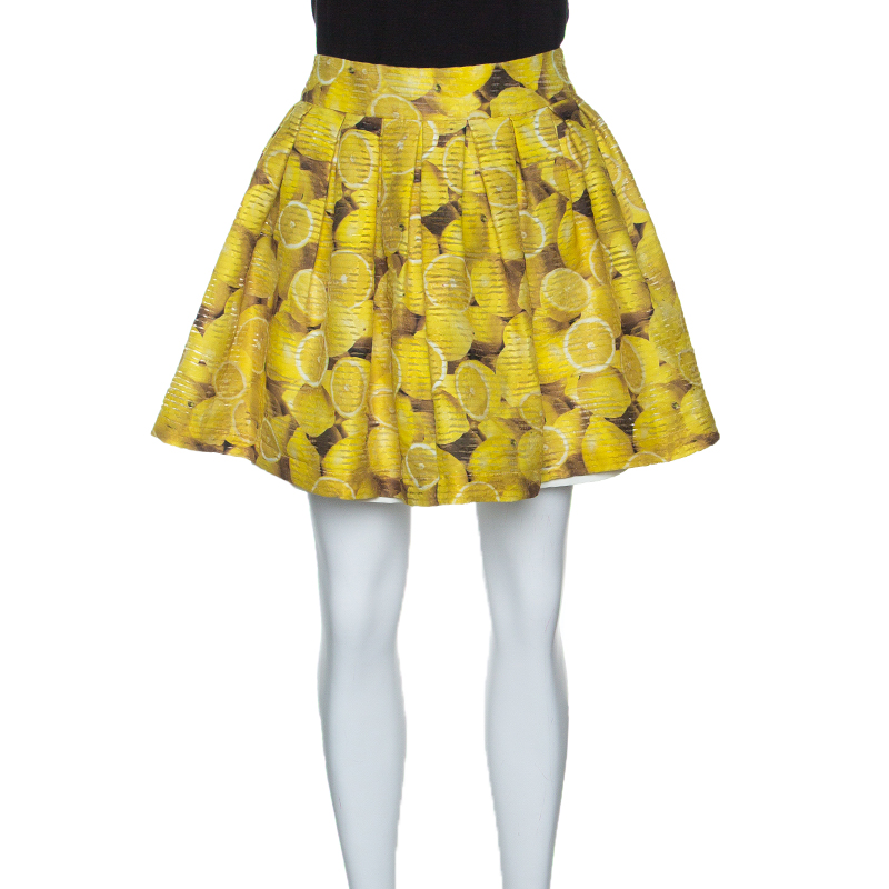 Alice + Olivia Lemon Print Wide Pleat Ginnie Mini Skirt M