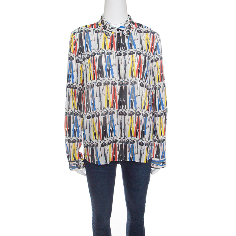 Alice + Olivia Multicolor Willa Printed Silk Long Sleeve Button Front Shirt L