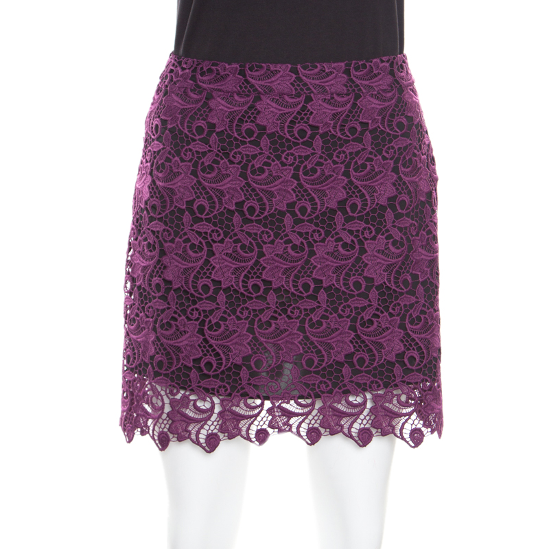 Alice + Olivia Plum Lace Riley Mini Skirt S
