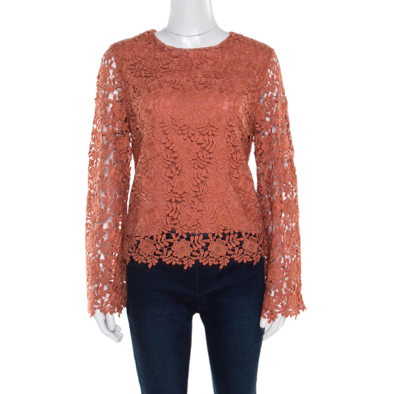 Alice + Olivia Salmon Pink Floral Lace Long Sleeve Pasha Top M