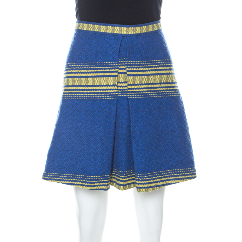 Alice + Olivia Blue Cotton Inverted Pleat Russo Skirt M