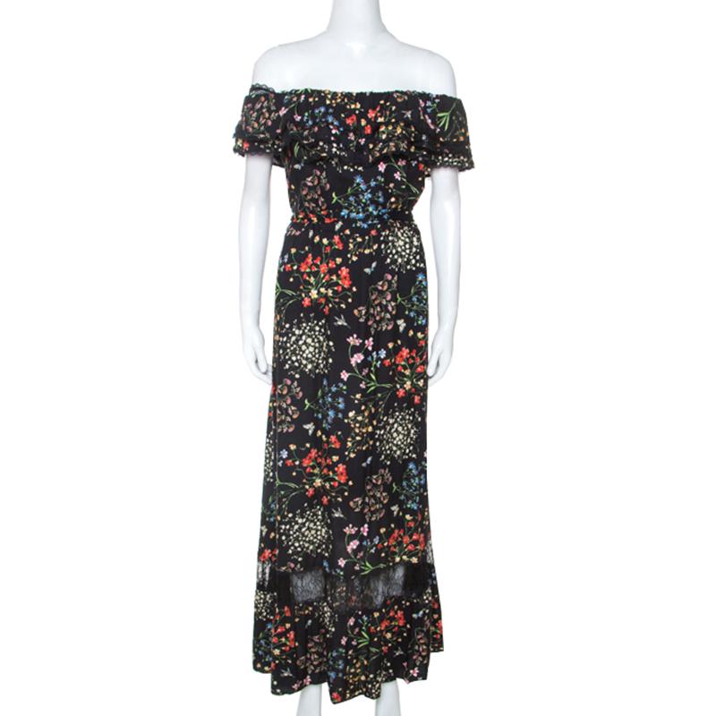 Alice + Olivia Black Floral Print Stretch Off Shoulder Maxi Dress M