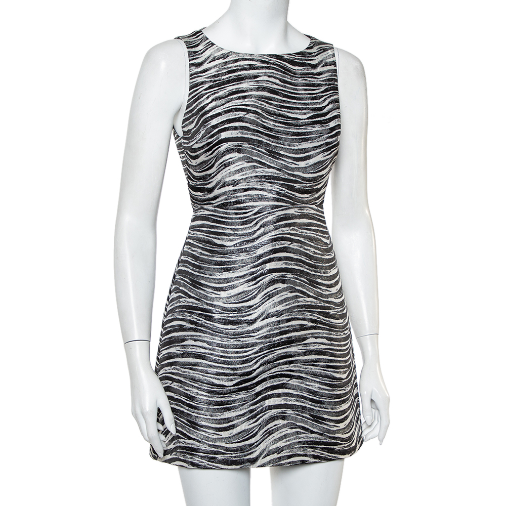 Alice + Olivia Monochrome Metallic Jacquard Sleeveless Everleigh Mini Dress S, Black  - buy with discount