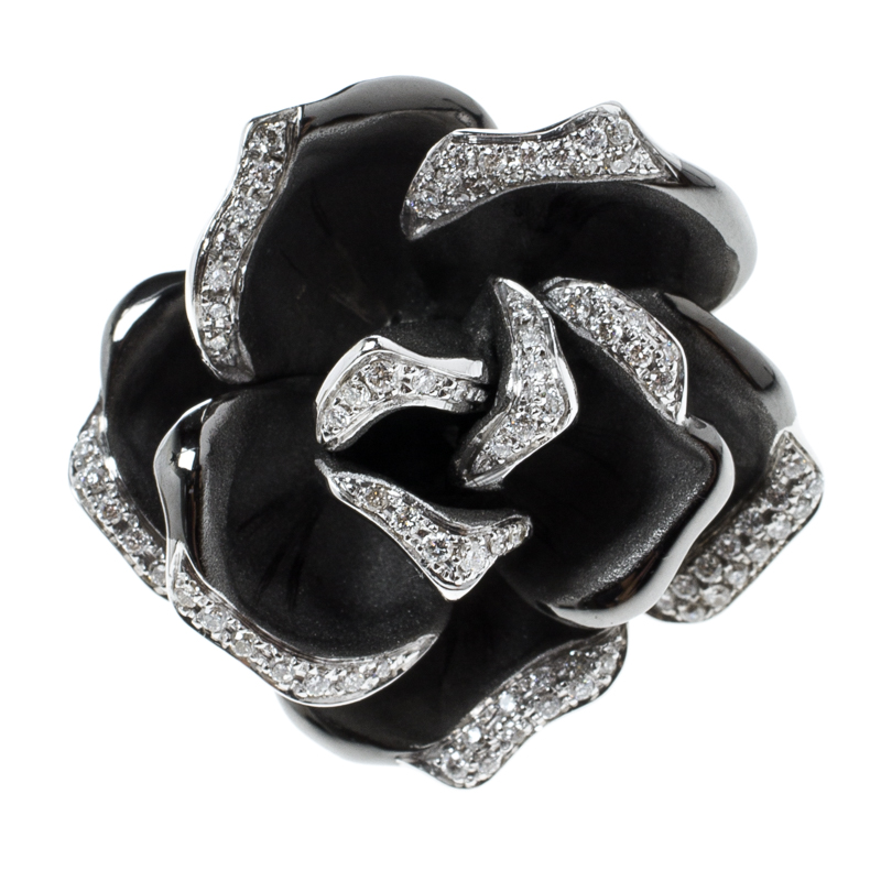 Купить со скидкой Annamaria Cammilli Black Rose Diamond & Black Rhodium Plated 18k Gold Cocktail Ring Size 51