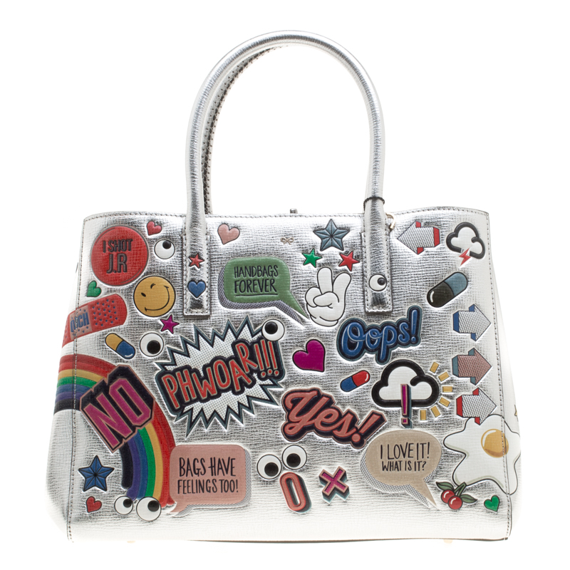 Anya Hindmarch Silver Embossed Sticker Leather Small Ebury Tote