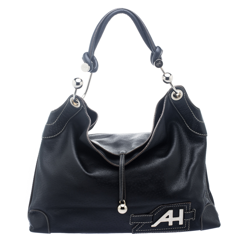 Buy Anya Hindmarch Black Leather Elrod Hobo 118241 at best price  c5ed36e5389d9
