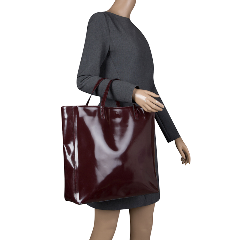 Anya Hindmarch Burgundy Patent Leather Tote
