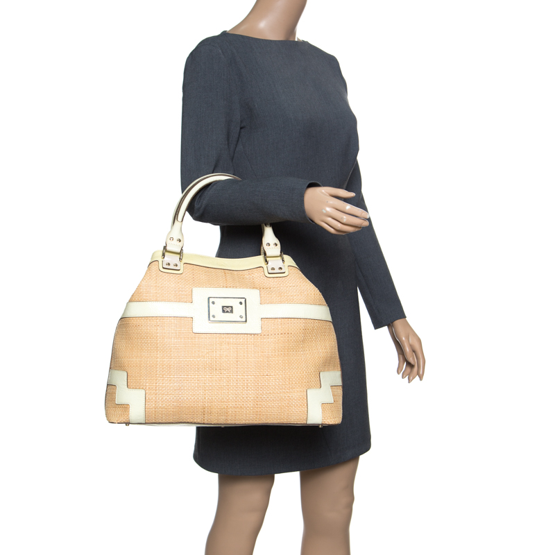 Anya Hindmarch Beige/Cream Raffia and Patent Leather Tote