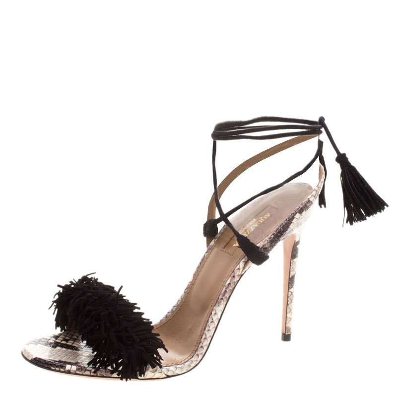 2a9f5008c47e0 Buy Aquazzura Two Tone Fringed Suede and Python Wild Thing Tasseled ...