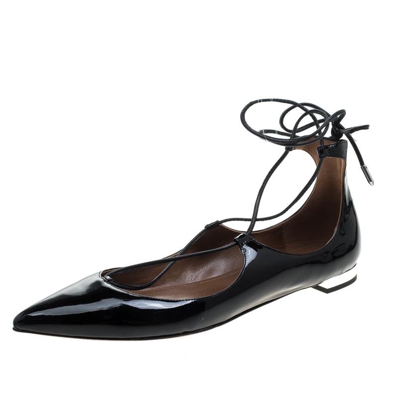 e77abd325 Buy Aquazzura Black Patent Leather Christy Lace Up Pointed Toe Flats ...