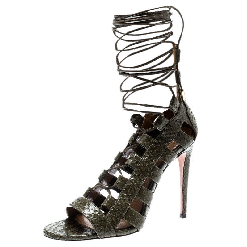 b8492b2226779 Aquazzura Khaki Green Python Leather Amazon Lace Up Open Toe Sandals Size 35