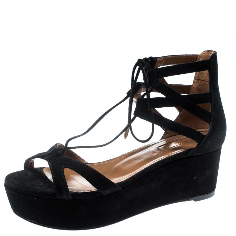 b7c60f69a351c Buy Aquazzura Black Cut Out Suede Beverly Hills Lace Up Open Toe ...