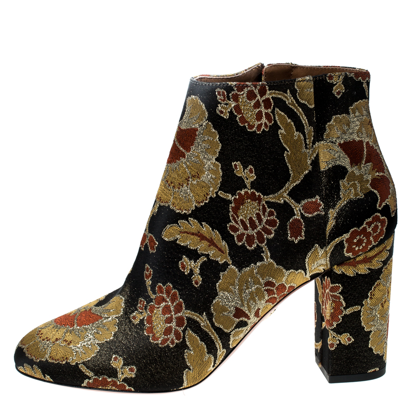 clearance sale wholesale online offer discounts Aquazzura Multicolor Floral Brocade Fabric Brooklyn Oriental Ankle Boots  Size 40