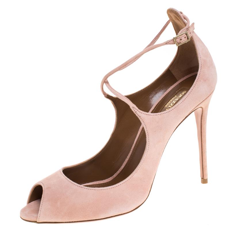 Aquazzura Pink Suede Zani Ankle Strap Pumps Size 40.5
