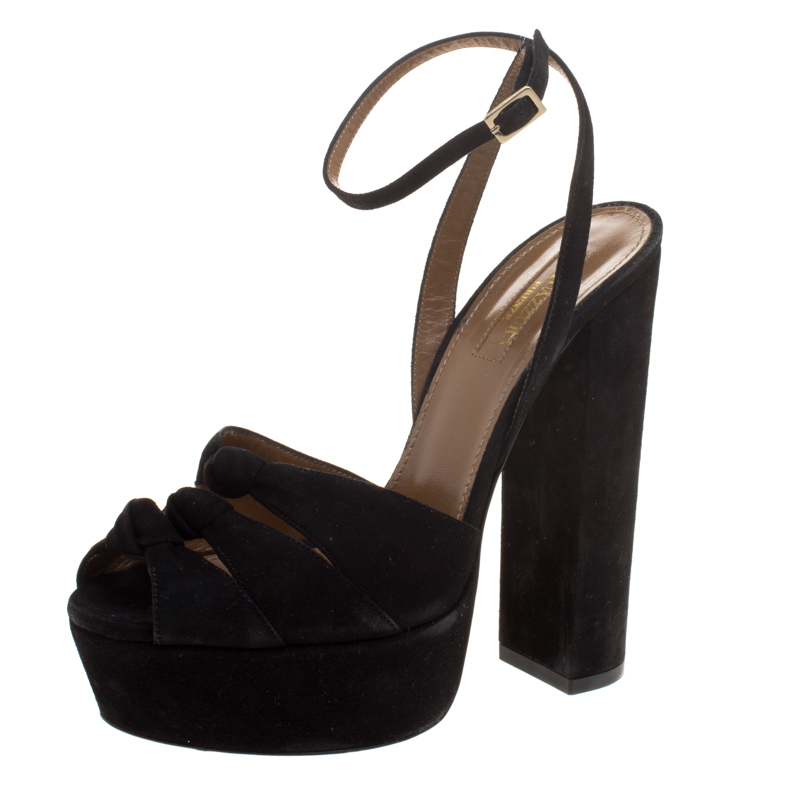 4de4e328f33 Aquazzura Black Knotted Suede Mira Block Heel Platform Sandals Size 36.5
