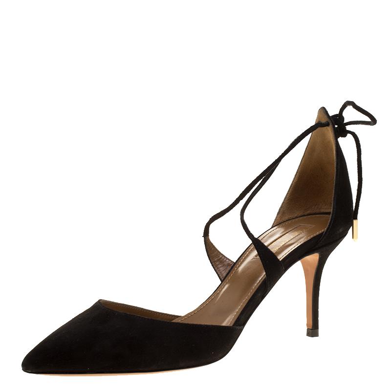 446fa2f1c7f ... Aquazzura Black Suede Matilde Cross Straps Sandals Size 37. nextprev.  prevnext