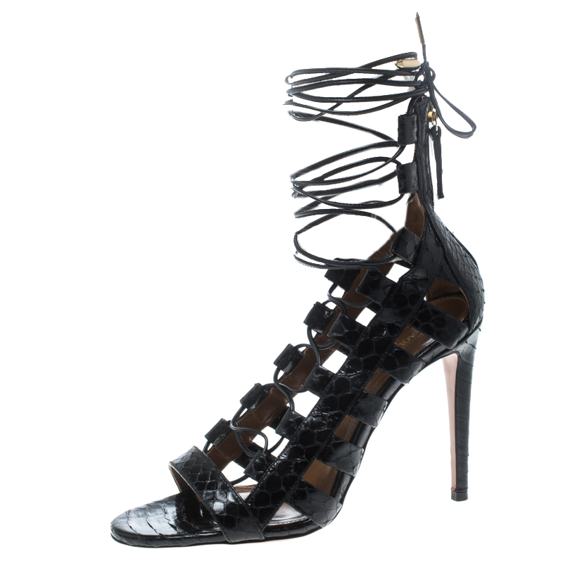 9c05b9aabb9 Buy Aquazzura Black Python Leather Amazon Lace Up Cage Sandals Size ...