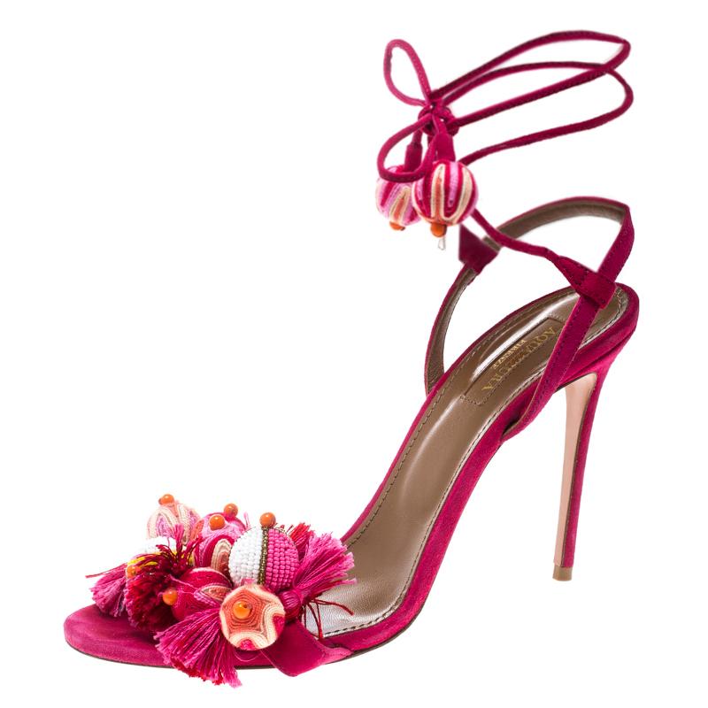 83cb092157a Buy Aquazzura Paradise Pink Suede Tropicana Tasseled Beaded Ankle ...