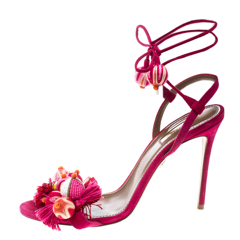 competitive price clearance prices big sale Aquazzura Paradise Pink Suede Tropicana Tasseled Beaded Ankle Wrap Sandals  Size 39.5