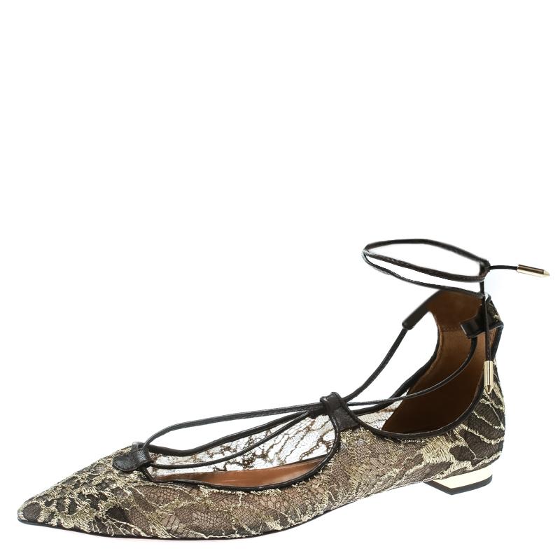 44a7ce2d9 ... Aquazzura Gold/Brown Lace Christy Lace Up Pointed Toe Flats Size 37.  nextprev. prevnext