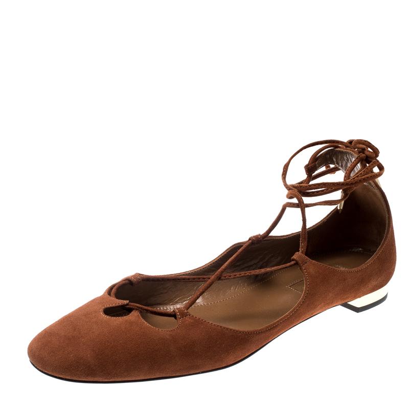 Aquazzura Brown Suede Dancer Lace Up Ballet Flats Size 38.5