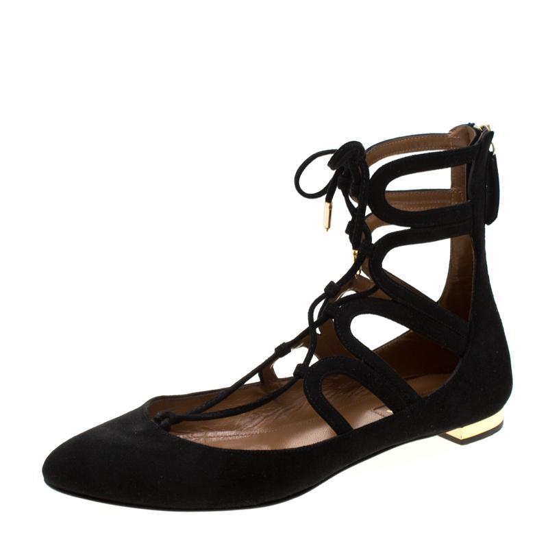 90dca6422b2 Aquazzura Black Suede Dancer Lace Up Ballet Flats Size 37.5